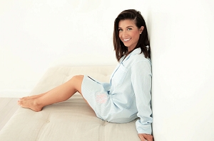 Monogrammed Seersucker Long Sleeve Nightshirt - Blue